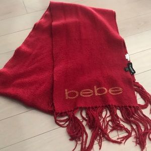 Red and Gold Bebe Crystal Blanket Scarf